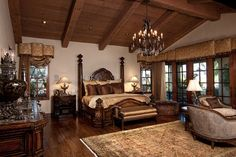 Mediterranean Master Bedroom Design Pictures Remodel Decor and Ideas page 1 Dream Master Bedroom, Farmhouse Master Bedroom, Master Bedroom Design, Home Bedroom, Bedroom Decor, Warm Bedroom, Master Suite, Bedroom Ideas, Tuscan Decorating
