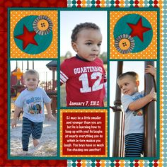 Playing At The Park - Scrapbook.com.  Like the layout and use of negative space in the top squares.