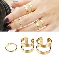 3pcs Silver Gold Hollow Opening Knuckle Finger Ring Masters Sun by postbazaar