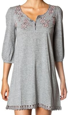 Odd Molly Grey Melange Jersey Dress Tunic Top Pin Embroidery 1 S | eBay