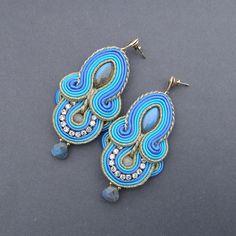 earrings soutache Marrakech  labradorite and by BlueButterflybizu