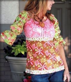 Lila Tueller Funked paysan Blouse couture patron, livraison gratuite