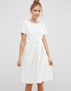 ASOS Full Double Layer Midi Dress With Rib Skirt