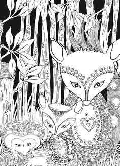 Creative Haven Midnight Forest Coloring Page - (doverpublications)