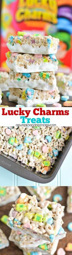 Lucky Charms Treats - gooey marshmallow cereal treat bars with lucky charms and dipped in white chocolate. Great St. Patrick's Day treat!