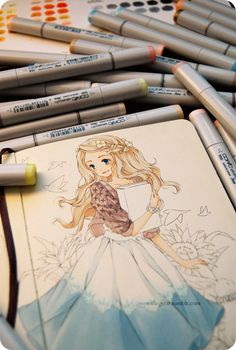 Finally inked and starting to color the Alice in Wonderland sketch! aaaaaahhh my lovely markers, it's been awhile ヽ(*`8´*)ノ Copic Drawings, Anime Drawings Sketches, Anime Sketch, Art Drawings, Sketch Drawing, Copic Marker Art, Copic Art, Copic Sketch, Copic Markers
