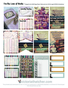 Free Printable For the Love of Books Planner Stickers | Victoria Thatcher