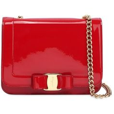 Salvatore Ferragamo Women Small Vara Rainbow Patent Leather Bag (97.595 RUB) ❤ liked on Polyvore featuring bags, handbags, shoulder bags, red, bow purse, shoulder strap handbags, red patent leather handbag, chain shoulder bag and red handbags