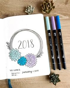 2018 bullet journal hand lettering with flower wreath