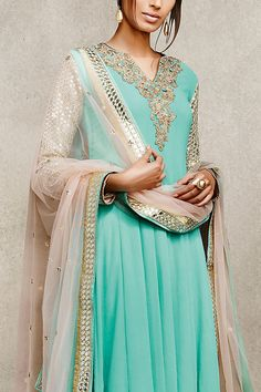 Sky Blue and Beige Embellished With Mirror Work Suit