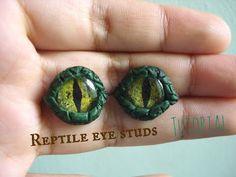 Reptile eye studs tutorial / aretes ojos de reptil - YouTube