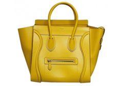 Celine Yellow Pamelato Leather Mini Luggage Tote Bag