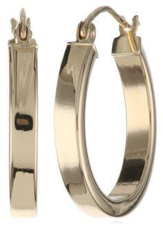 Amazon Collection 14k Yellow Gold High Polish 3mm Flat Hoop Earrings