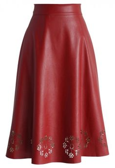Faux Leather Cutout Midi Skirt in Red