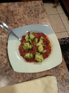 Day 20 dinner: spaghetti squash & HM bolognase, avocado
