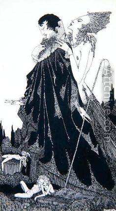 Illustration by Harry Clarke from Selected Poems of Algernon by Charles Swinburne, 1928