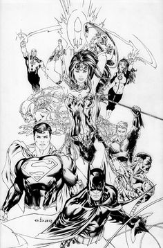 Justice League of America # 1 cvr by EBAS , in MGA-MICHAELALEXANDER's FOR SALE Comic Art Gallery Room