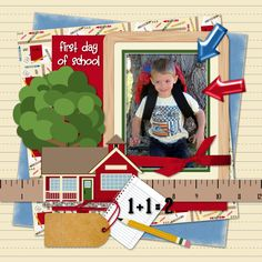"Digital Scrapbooking   My grandson's first day of Kindergarten!  I made this page with my ""School House"" kit.  Digital is so much fun!"