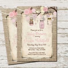 Rustic Baby Shower Invitation Mason Jar  by WallflowerEvents