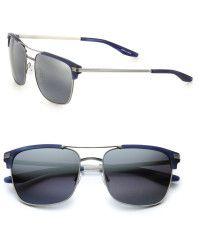 Barton Perreira Wexler Rectangular Titanium & Acetate Aviator Sunglasses
