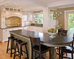 Kitchen Island Round from the rounded end of the island - great seating area