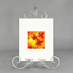 Orange Yellow Red Original Abstract Floral Acrylic Painting