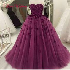 126.80$  Watch here - http://vijlu.justgood.pw/vig/item.php?t=4ng6zo45941 - 2017 Purple Tulle Flowers Ball Gown Wedding Dresses Formal Bridal Gowns Custom 126.80$