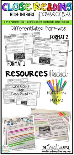 Close Reading Passages with two differentiated formats for struggling learners and learners ready to provide evidence. Students color-coordinate their answer with evidence from the text to support their responses.