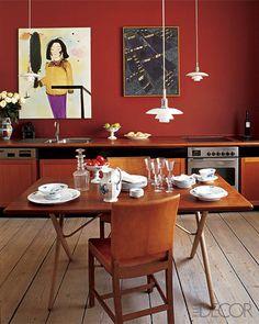 A red Danish kitchen