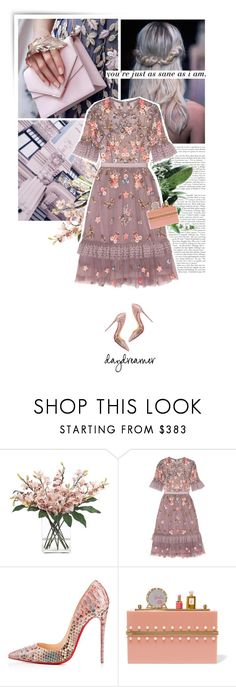 """""""spring dreams."""" by eve-angermayer ❤ liked on Polyvore featuring Magdalena, INC International Concepts, Needle & Thread, Christian Louboutin, Charlotte Olympia, Spring, floral, lilac, eveangermayer and angermayerevelin"""