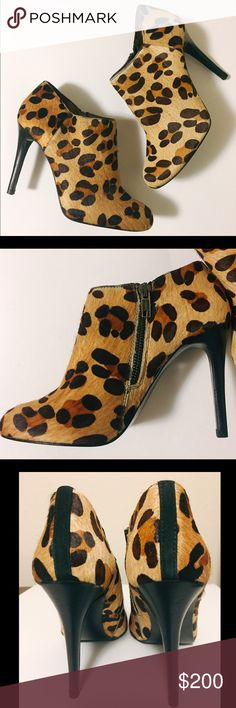"""NWOB Zara rare leopard calf hair leather booties NWOB Zara leopard booties. Rare, comfy and fashionable! 😎 100% genuine cow leather, so soft. Leopard patterned calf hair exterior. Padded soles and wooden high heels. Zara's signature zippers on the side. Height: 4"""". These are EUR 37, US 6.5 - 7. Best fit for 6.5 I think. PRICE FIRM. Feel free to ask any questions if you have. Thank you 🙏 Zara Shoes Ankle Boots & Booties"""