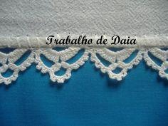 Fotoğraf: Trabalho nº 11. Pano de prato com bico de crochê.