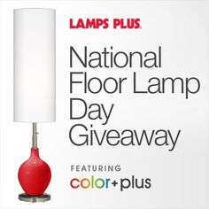 Did you know that May 31st is National Floor Lamp Day? (Okay, we just made that up.) Celebrate by voting for the Color + Plus floor lamp YOU would pick to be the spokeslamp for Lamps Plus - the Lido or the Ovo. Every vote counts as an entry for you to win, so vote daily! Visit the Lamps Plus Facebook page to enter: https://www.facebook.com/lampsplus