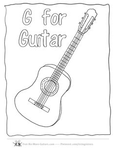 Guitar Coloring Pages Acoustic At Fret No More Guitars
