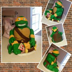 TMNT birthday cake made by pinkspoonbakery of plant city,fl Vanilla cake and buttercream with vanilla fondant and rkt. Entirely edible!