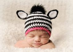 zebra hat.  Super cute!  This could be done with a lot of animals