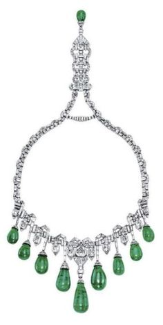 An art Deco Emerald and Diamond Necklace by Van Cleff  Arpels, formerly in the jewel collection of Princess Fazia of Egypt