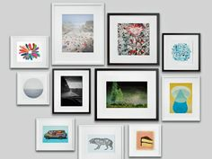 When you use gold and black frames, modern photos and abstract art, you'll get a beautifully chic gallery wall. ------------------- #gallery #wall #picture #frames #black #white #diy