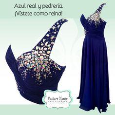 Vestido azul rey con incrustraciones. Descarga el catálogo en http://smd.mx/couturehouse/