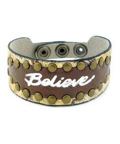 Brown Imagine 'Believe' Leather Bracelet