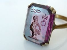 VINTAGE INTAGLIO SEAL RING GREEK MYTHOLOGY WATER CARRIER ZODIAC SIGN AQUARIUS #UNBRANDED #ClawRing