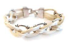Bracelet tressé blanc par Wilec sur Etsy