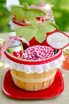 a berry strawberry picnic party! Each place setting has one! I Love the ribbon d… a berry strawberry picnic party! Each place setting has one! I Love the ribbon detail around the basket…cute! I Party, Party Time, Party Favors, Party Ideas, Picnic Birthday, Birthday Parties, Themed Parties, Birthday Ideas, Picnic Theme
