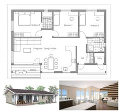 Small house plan, affordable to build, three bedrooms, covered terrace, big windows. Floor Plan.