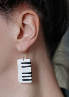 Piano earrings, Keyboard earrings, Music jewelry, Black and white, Music earrings, Musical instrument earrings, 925 Sterling silver hooks