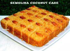 AMBROSIA: Semolina Coconut Cake (Egg less) Eggless Desserts, Eggless Recipes, Eggless Baking, Vegan Baking, Vegan Desserts, Cake Recipes, Muffin Recipes, Vegan Recipes, Cooking Recipes