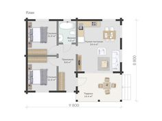 Проект дома из клееного бруса Нарва Cottage House Plans, Small House Plans, Cottage Homes, Backyard Guest Houses, Home Technology, Cabana, My House, Floor Plans, House Design
