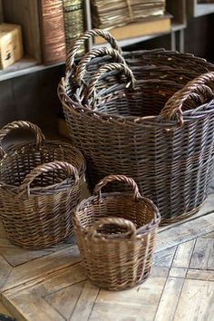 """Hand Made, these baskets have character. And, there is a size for everyone and everthing! Purchase Individually or as a Set of 5 A. 9"""" diameter x 9"""" tall B. 11"""" diameter x 10"""" tall C. 13"""" diameter x 1"""