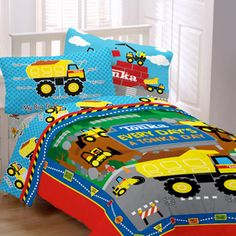 Adorable construction toddler bedding sets including Under Construction by Olive Kids. Twin and toddler boys comforter sets available in these patterns. Twin Bed Comforter, Kids Twin Bedding Sets, Mens Bedding Sets, Truck Bedroom, Truck Nursery, Construction Bedroom, Kids Construction, Kids Bedroom, Bedroom Ideas