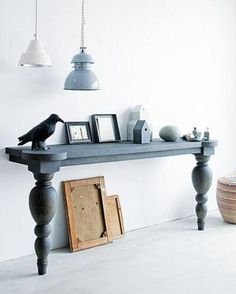 DIY home decor inspiration - upcycled half table. Once again, I couldn't find the original source for this, but it looks French design by Astier de Vilatte, so I'd recommend checking that out, or making your own! Painted Furniture, Home Furniture, Furniture Design, Coaster Furniture, Furniture Legs, Half Table, Hallway Console, Console Table, Dining Table